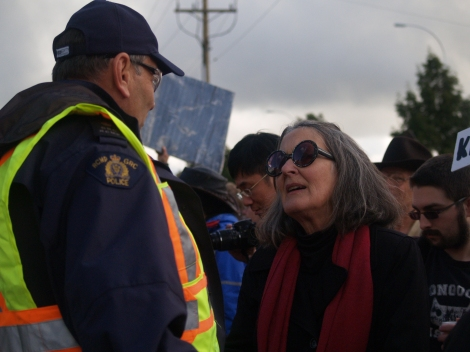 Lawyers Against the War spokeswoman Gail Davidson at an anti-Bush rally in Surrey, B.C. Photo by David P. Ball