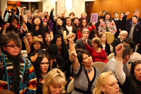 Hundreds of women flooded into Commissioner Wally Oppal's speech following the release of the missing women inquiry report, drumming, singing and heckling. Photo by David P. Ball