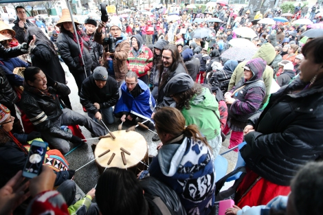 A Dakota group drums in honour of Chief Theresa Spence's hunger strike, as 600 people attending an Idle No More rally in Vancouver, B.C. pray for her health. Photo by David P. Ball