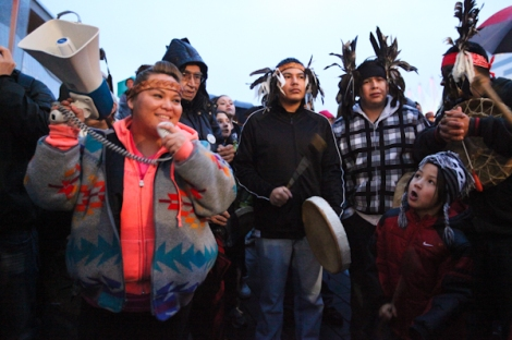 Jerrilyn Webster (aka JB the Firstlady) MCs at a Vancouver Idle No More event. Photo by David P. Ball