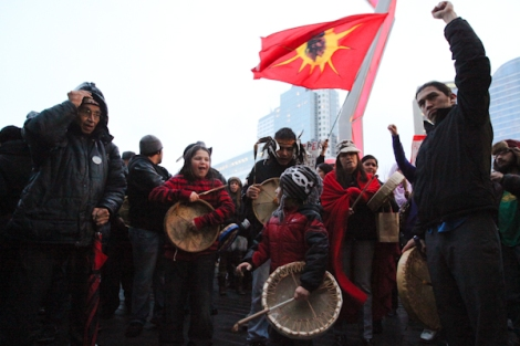 Thousands have attended round dances and rallies, like this one in Vancouver, B.C., in the month since Idle No More hit the political scene.  Photo by David P. Ball