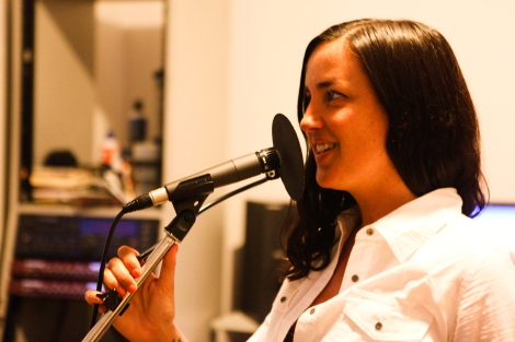 Kinnie Starr in the recording studio. Photo by David P. Ball