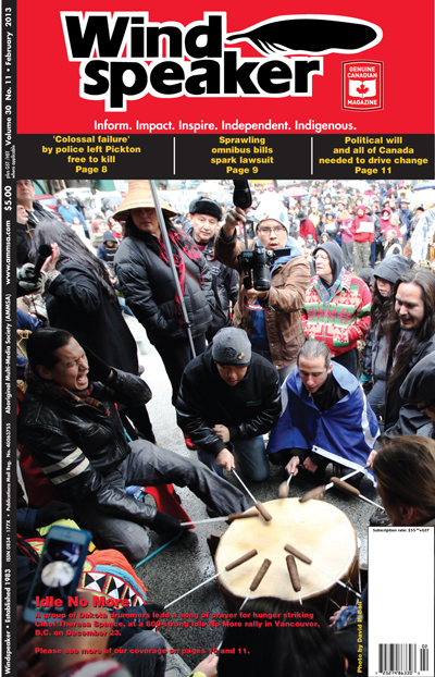 Cover photo of Windspeaker newspaper by David P. Ball