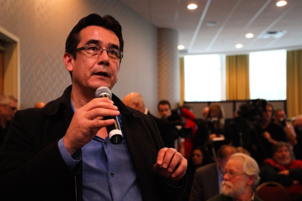 Chief Bob Chamberlin of the Kwicksutaineuk/Ah-Kwa-Mish First Nation speaks to water issues within his territory at the release of the Cohen inquiry's final report. Photo by David P. Ball