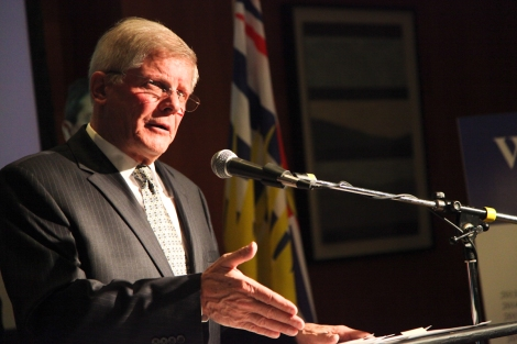 Conservative leader John Cummins at the party's budget reveal in Vancouver today. Photo by David P. Ball