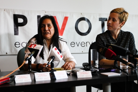 DJ Joe (left), speaks at a press conference Feb. 27 alongside Pivot Legal Society's Katrina Pacey. Photo by David P. Bal