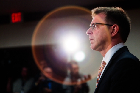Adrian Dix at his first press conference since the NDP's defeat. Photo by David P. Ball