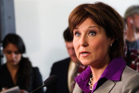 Work to do: Christy Clark at post-election day press conference. Photo by David P. Ball
