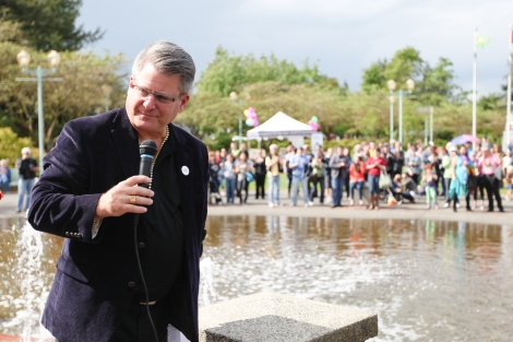 """All members of our community need to feel safe and secure . . . they need to feel they are given the opportunity to express themselves and to grow,"" Abbotsford Mayor Bruce Banman told the crowd. Photo by David P. Ball"