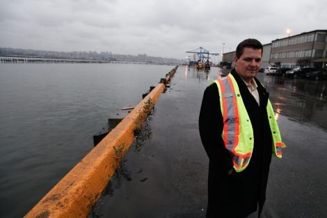 Jeff Scott, president and CEO of Fraser Surrey Docks, took The Tyee on an exclusive tour of the proposed coal terminal. Photo by David P. Ball