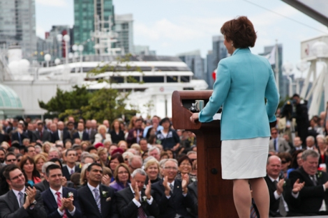 Premier Clark announces her cabinet to a large crowd at Port Metro Vancouver, June 7, 2013. Photo by David P. Ball