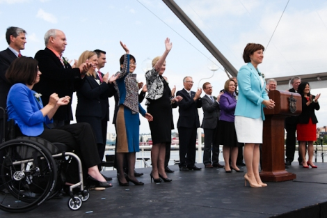 Clark and her new cabinet greet the crowd at Port Metro Vancouver. Photo by David P. Ball