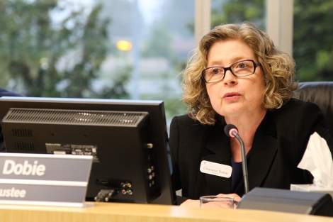 "Trustee Charlene Dobie said the regulation is ""very comprehensive,"" showing ""the commitment of the working group and the district to the well-being of our LGBTQ students, staff and families."" Photo by David P Ball"