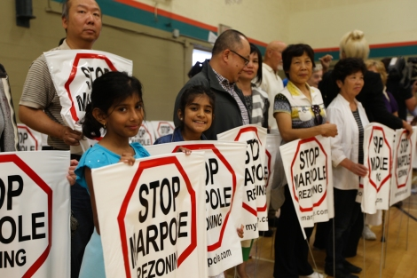 Several hundred Marpole residents attended an event at a local community centre on Sunday, with organizers saying 1,500 households have requested protest signs. Photo by David P. Ball