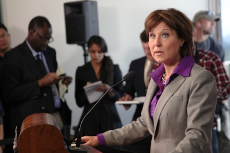 Premier Christy Clark with reporters at her first post-election press conference. Some journalists think it's getting harder to get politicians to answer tough questions. Photo by David P. Ball