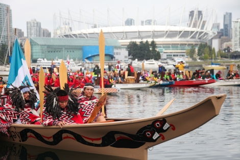 Reconciliation Week flotilla at Vancouver's False Creek. Photo by David P. Ball