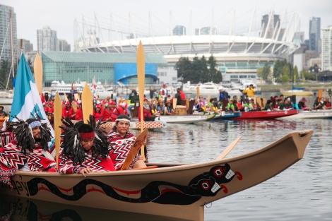 Reconciliation Week flotilla at Vancouver's False Creek. Photo by David P. Ball
