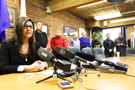 Brenda Sayers of Hupacasath First Nation at press conference discussing Canada-China FIPA trade agreement. Photo by David P. Ball