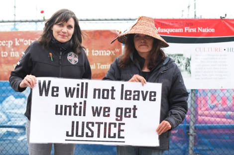 Musqueam nation blockade spokesperson Cecilia Point (left) with her sister Mary Point, launched the protest in March 2012. Photo by David P. Ball