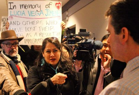 Mexican refugee Karla Lottini and other advocates deliver a 7,500-signature petition to CBSA's Vancouver offices Wednesday. Photo by David P. Ball