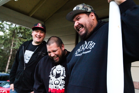 A Tribe Called Red, from left: DJ NDN, DJ Shub, and Bear Witness. Photo by David P. Ball
