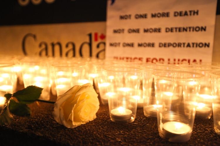 A vigil for Lucia Vega Jimenez, who died in CBSA custody on Dec. 28. Photo: David P. Ball