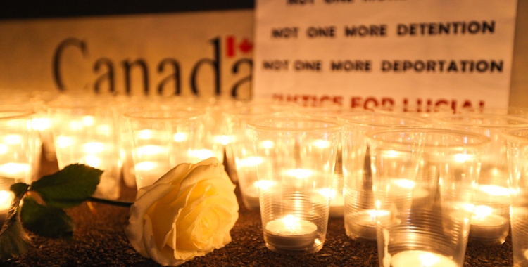 A vigil for Lucia Vega Jimenez, who died in CBSA custody on Dec. 28. Photo: David P. Ball