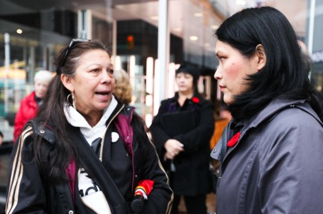 Michele Pineault, left, speaks to New Democrat MLA Jenny Kwan about her daughter Stephanie whose DNA was found on the Pickton farm in this 2012 file photo. Photo by David P. Ball