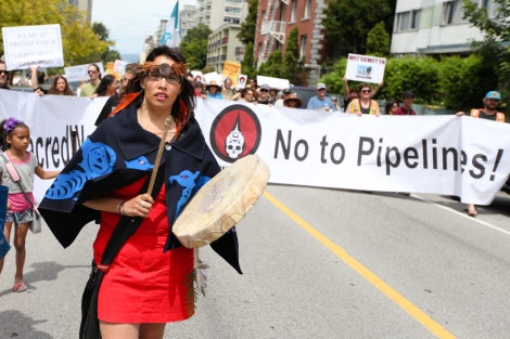 Anti-Enbridge protest organized by the Union of BC Indian Chiefs on June 8. Photo by David P. Ball