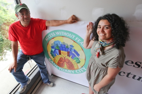 "The newly formed Sanctuary City coalition's Byron Cruz (left) and Alejandra López Bravo met with city, health and police officials on May 9, as a municipal group prepares to recommend Vancouver consider ""sanctuary city"" status. Photo David P. Ball"