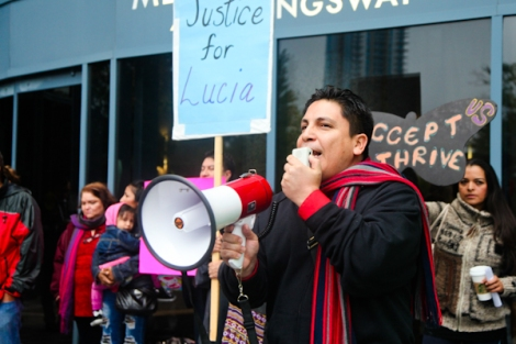 Rocco Trigueros, with the group Mexicans Living in Vancouver, protests outside the B.C. Coroners Service inquest into the suicide of a Mexican woman in custody last December. Inside, court heard of private guards' high turnover and lack of training. Photo by David P. Ball
