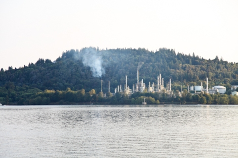 Chevron's refinery sits beside Kinder Morgan's Trans Mountain terminal on in Burnaby, on the shores of Burrard Inlet. Photo by David P. Ball