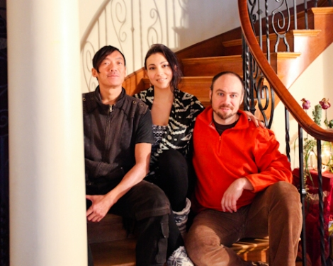 From left, Jeet-Kei Leung, Phoenix Muranetz and Erik Paulsson in the South Vancouver mansion they share with several other friends. Photo by David P. Ball