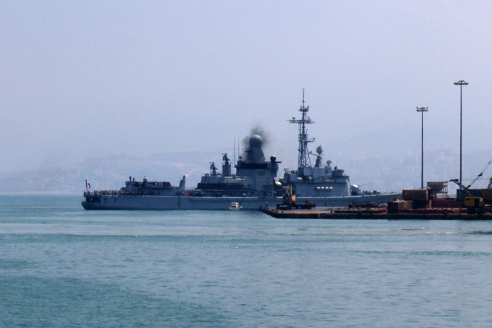 Warships in Beirut harbour. Photo David P. Ball 2006