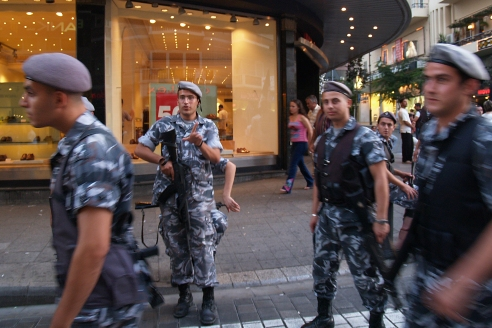 Lebanese soldiers patrol the streets of Beirut. Photo David P. Ball